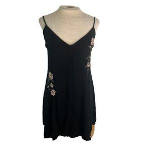Kendall & Kylie Embroidered Mini Button Slip Dress